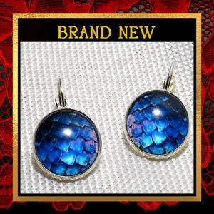 Blue & Purple Dragon Scale Earrings  #481